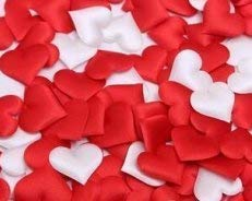 Love Events Valentine's Day Red and White Heart 200 Count Fabric Sponge Heart Confetti Love Theme Table Bed Scatter Wedding
