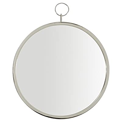 "Rivet Round Glass Hanging Wall Mirror, 30 Inch Height, Silver Finish - The simple keyhole loop at the top of this round mirrors adds a delicate style detail. Its clean, silver finish allows it to blend with your existing décor. 23.5"" x 29"" Modern design with touch of glam - bathroom-mirrors, bathroom-accessories, bathroom - 31r3l6rJ5uL. SS400  -"