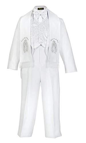 iGirldress Baby Boys White Baptism Christening Paisley Lapel Tuxedo with Silver Maria Estola Scarf Size M (6-12 ()