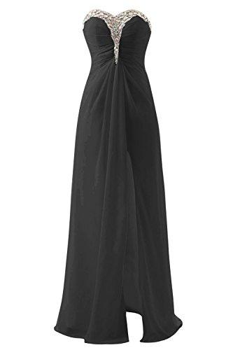 Bbonlinedress Vestido De Fiesta Boda Largo De Gasa Escote Corazón Apertura Frontal Negro