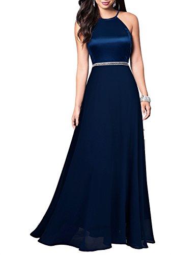 Mmondschein Women's Vintage Halter Wedding Bridesmaid Chiffon Long Dress Blue M