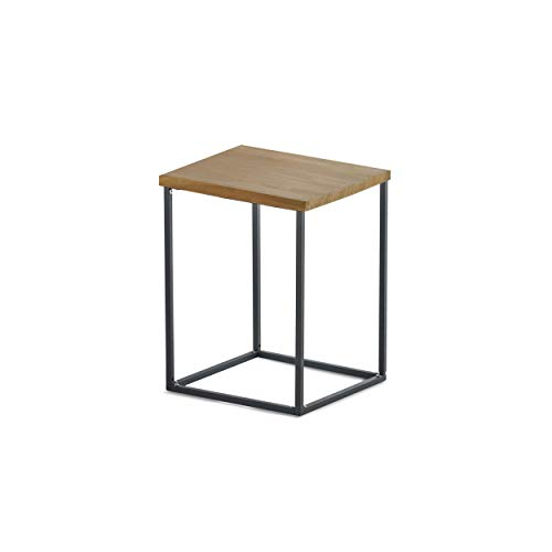 Pietra Accents - Design Ideas Pietra Teak Small Side Table, Teak Wood and Metal Modern End/Accent Table, Black/Tan