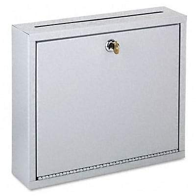 - Wall-Mountable Interoffice Mail Collection Box, 12w x 3D x 10h, Platinum