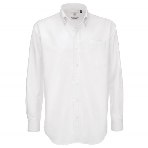 Casual Normale B amp;c Taille Weiß Boutonné Manches Col Chemise Homme Longues RfZw1
