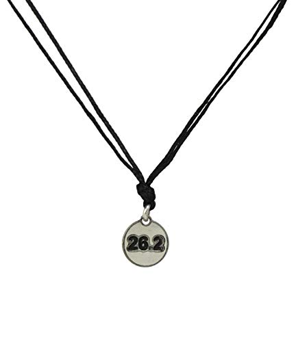 Black Choker Necklace with Stainless Steel Marathon Runner 26.2 Charm Necklace on Double Black Strand for Women - Light, Elegant, Non Allergic Jewelry (Marathon Necklace)