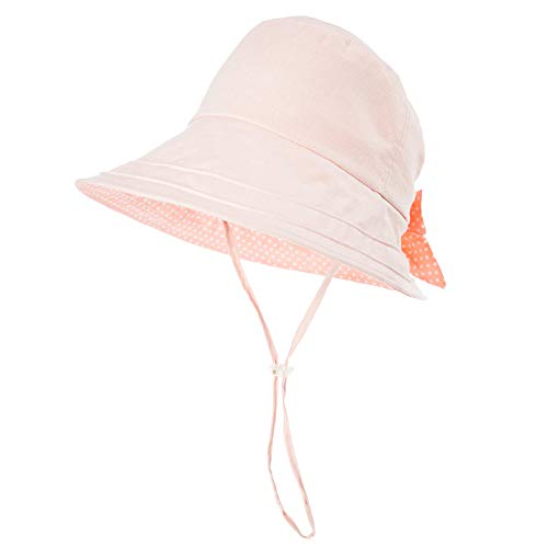 Siggi UV50+ 100% Linen Summer Sunhat for Women Bucket Crushable Wide Brim Hats w/Chin Cord Pink ()