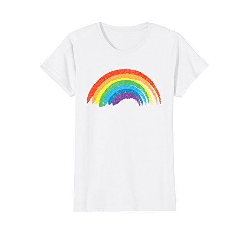 Womens Vintage Retro Rainbow T-Shirt, Classic Distressed Design Large White (T-shirt Classic Distressed White)