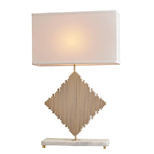 Global Views Modern Metal Rods Diamond Shape Table Lamp | Gold Square White Brass Lines (Harlequin Traditional Table Lamp)