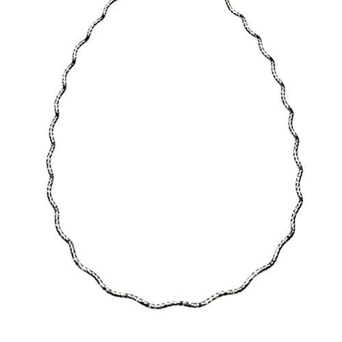 Sterling Silver 1.4mm Diamond-Cut Wavy Omega Nickel Free Chain Necklace Italy 20