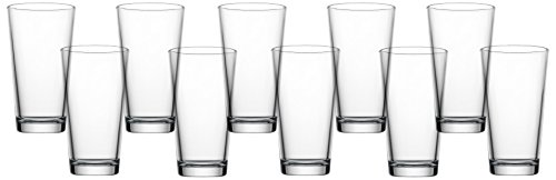 Circleware Original Huge Drinking Glasses, Set of 10, 16 oz, Clear