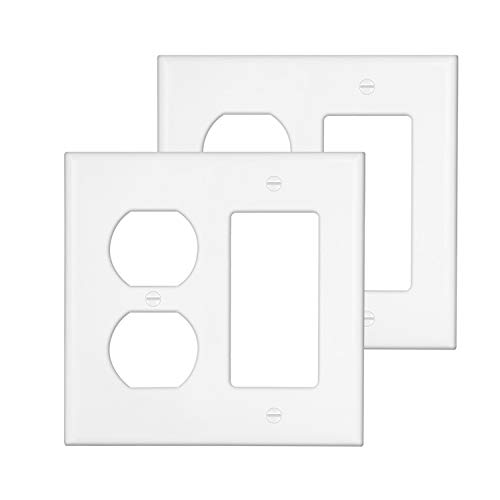 [2 Pack] BESTTEN 2-Gang Combination Wall Plate, 1-Duplex/1-Decor, Standard Size, Unbreakable Polycarbonate Outlet and Switch Cover, UL Listed, - Receptacle Plates Gang 2 Wall