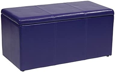 Office Star Metro 3-Piece Bench and Ottoman Cube Set in Vinyl, Purple