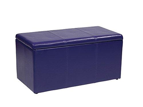 Office Star Metro 3-Piece Bench and Ottoman Cube Set in Vinyl, Purple