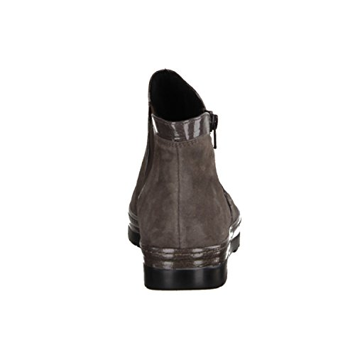 Semler Select Ruby R85053-030- Damenschuhe Bequeme Stiefel-Stiefeletten, Grau, Leder (Samt-Chevro/k-Lack), Absatzhöhe: 15 mm