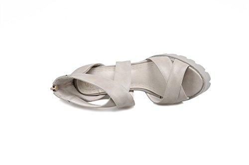 Allhqfashion Femmes Talons Hauts Matériau Souple Solide Fermeture À Glissière Peep Toe Sandales Gris