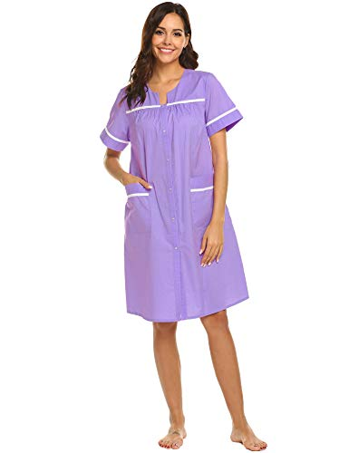 Ekouaer House Dress Women's Casual Loungewear Short Sleeve Cotton Duster Robe (Rose Viole,M)