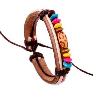iBegem Magnifique Bracelet ajustable de type Tibétain en cuir marron leger orné de breloques en bois multicolore fait main pour femme fille- Cadeau Saint Valentin Anniversaire