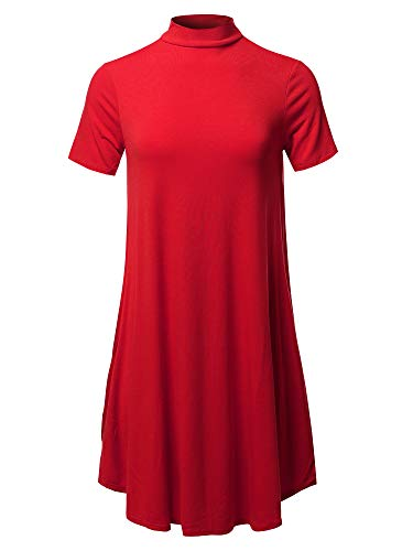 (Solid Mock Neck Short Sleeve Tunic Dress Red XL)