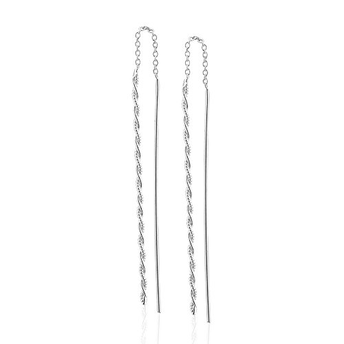 925 Sterling Silver Minimalist Simple Rope Chain Threader Long Dangle Earrings Thin Stick Bar Back