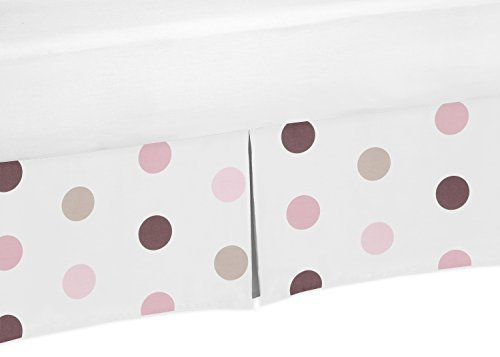 Sweet Jojo Designs Brown and Pink Polka Dot Crib Bed Skirt Dust Ruffle for Girls Mod Dots Collection Baby Bedding ()