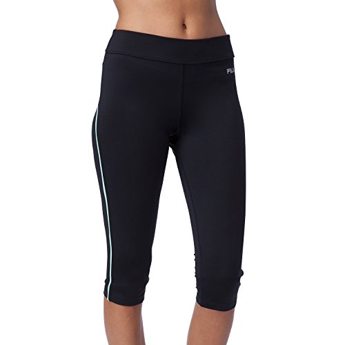 Fila Women's Side Piped Tight Capri, Black/Apple Chew, XL X 18 (Fila Womens Pants)