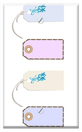 (Single-Gang Blank Wall Plate Cover - Tags Baby Scrapbook Soft Blue Birth Announcement)