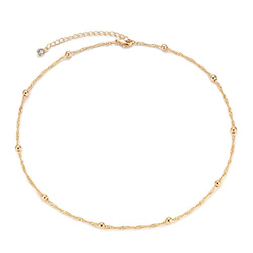 Mevecco Gold Bead Plain Chain Choker Necklace,14K Gold Plated Dainty Cute Tiny Bead Charm Wave Chain Minimalist Simple Choker Necklace for Women and -