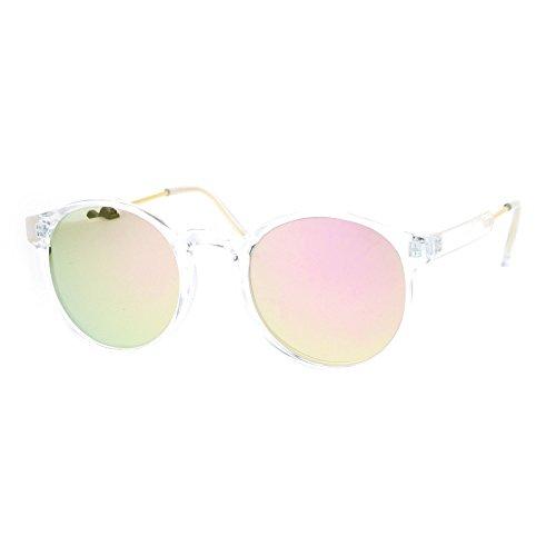 SA106 Retro Clear Frame Keyhole Mirrored Lens Sunglasses ()