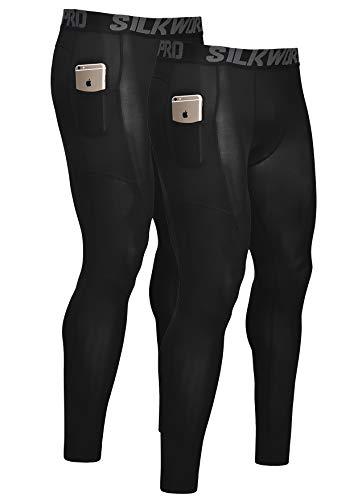 SILKWORLD Men's Compression Pants Pockets Cool Dry Athletic Leggings Baselayer Sports Running Tights (Pack of 2), 2 Pack_Black#2, Medium