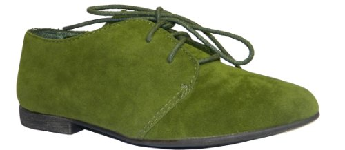 Breckelle's SANDY-31 Basic Classic Lace Up Flat Oxford Shoe,7.5 B(M) US,Military Green-31W,7.5 C/D US