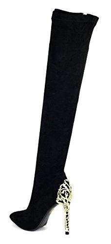 filigraner Absatzverzierung in schwarz Schwarz mit Stiefel Hohe qtTxvvE