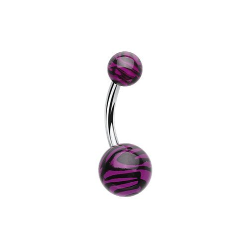 Zebra Stripe Patterned Acrylic Belly Button Ring (Acrylic Purple Navel Ring)