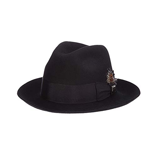 Stacy Adams Men's Wool Felt Fedora, Black, Large
