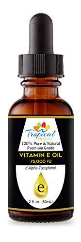 100% Pure Premium Vitamin E Oil, Big 2 oz - Maximum Strength 75,000 IU-Blocks Free Radicals, Slows Aging, Reduces Wrinkles, Skin,Nails, Hair, Scars, Sunburn - Travel Size