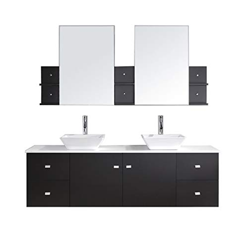 Virtu USA Clarissa 72 inch Double Sink Bathroom Vanity Set in Espresso w/ Square Vessel Sink, White Engineered Stone Countertop, Single Hole Polished Chrome, 2 Mirrors - - Clarissa Vanity