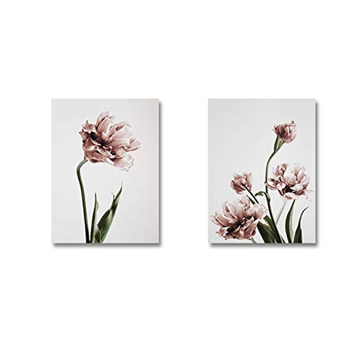 - Modern Tulip Flower Wall Print Art Canvas Paintings Floral Europe Poster Pictures Living Room Bedroom Home Decorative,40X50Cm No Frame,Set 1
