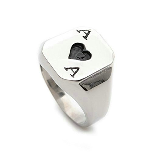 Stainless Steel Ring for Men, Pocker Ring Gothic Silver Band 16MM Size 12 (Genuine Amethyst Nose Bone)