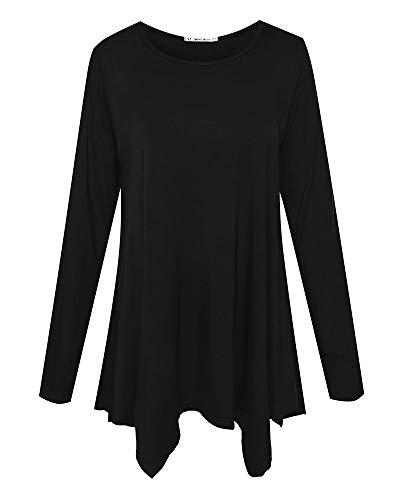 JollieLovin Womens Long Sleeve Tunic Top Loose Plus Size T Shirt (Black...