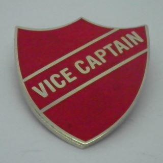 Vice Captain Enamel School Shield Badge - Red - Pack of 5