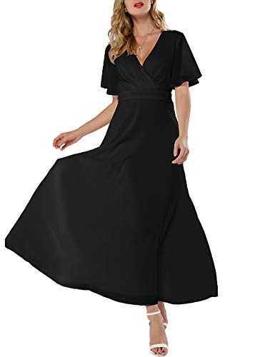 Azalosie Women Wrap Maxi Dress Short Sleeve Empire Waist Flowy Dress Wedding Formal Party Prom Evening Gown Long Dress (Dance Prom Gown)