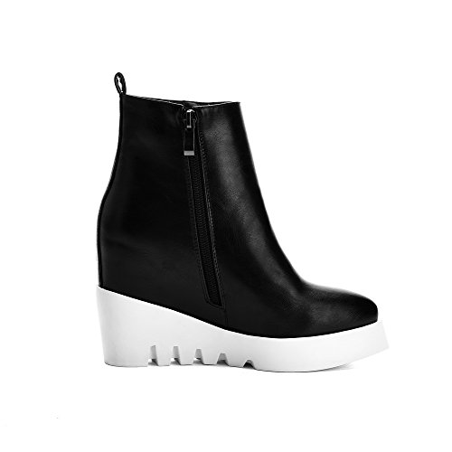 AmoonyFashion Womens Solid High-Heels Pointed Closed Toe PU Zipper Boots Black jsDHsZj