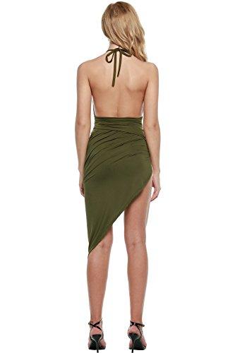 Women's Party Slit Green Halter Bluetime Army High Bandage Deep Sexy Dress Neck Backless V Apwvxdqaw