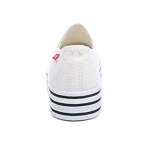 Aisun Donna Slip On Platform Mocassini Scarpe Di Tela Sneakers Bianche