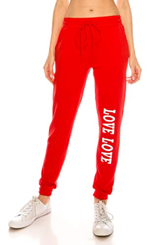 ALWAYS Women Fleece Jogger Pants - Solid Basic Soft Warm Winter Love Printed Drawstrings Pockets Sweatpants Red S