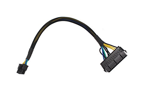 24 Pin to 10 Pin ATX PSU Main Power Supply Adapter Braided Sleeved Cable for IBM/Lenovo PCs Motherboard and Servers 12-inch (30cm) (Braided 24 Pin Cable)