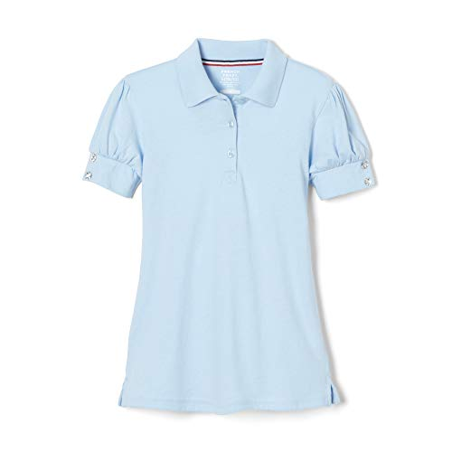 French Toast Little Girls Puff Sleeve Polo Shirt, Light Blue,  Small/6/6x ()