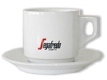 Segafredo blanco tazas de café y platillos (Juego de 4): Amazon.es: Hogar