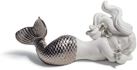 LLADR Day Dreaming at Sea Mermaid Figurine. Silver Lustre. Porcelain Mermaid Figure.