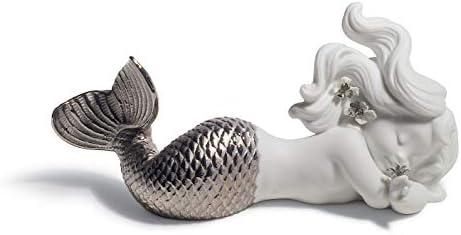 LLADR Day Dreaming at Sea Mermaid Figurine. Silver Lustre. Porcelain Mermaid Figure.