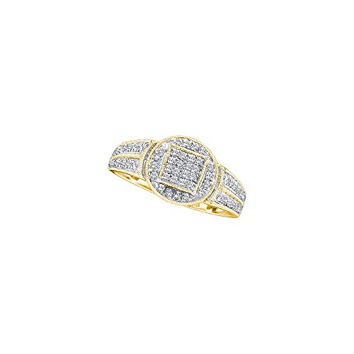 Cluster Engagement Ring Setting (Size 9.5 - 10k Yellow Gold Round Diamond Circle Frame Cluster Ring (1/5 Cttw))